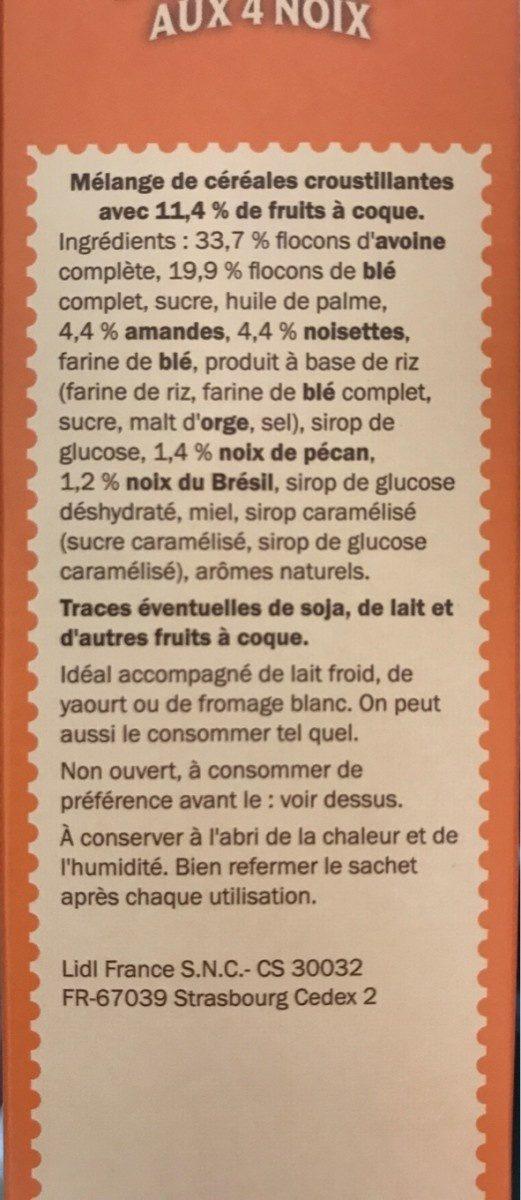 Muesli Croustillant aux 4 Noix - Ingrediënten - fr