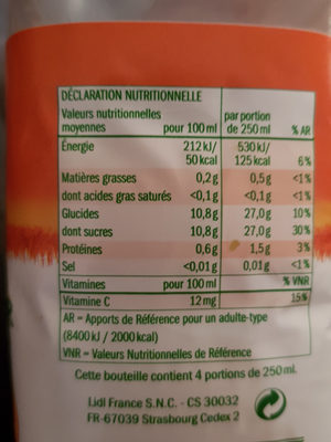 Petit Déjeuner Orange - Mandarine - Raisin - Nutrition facts