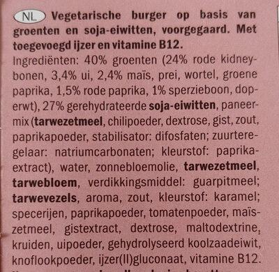 Spicy bean burger - Ingrediënten - nl