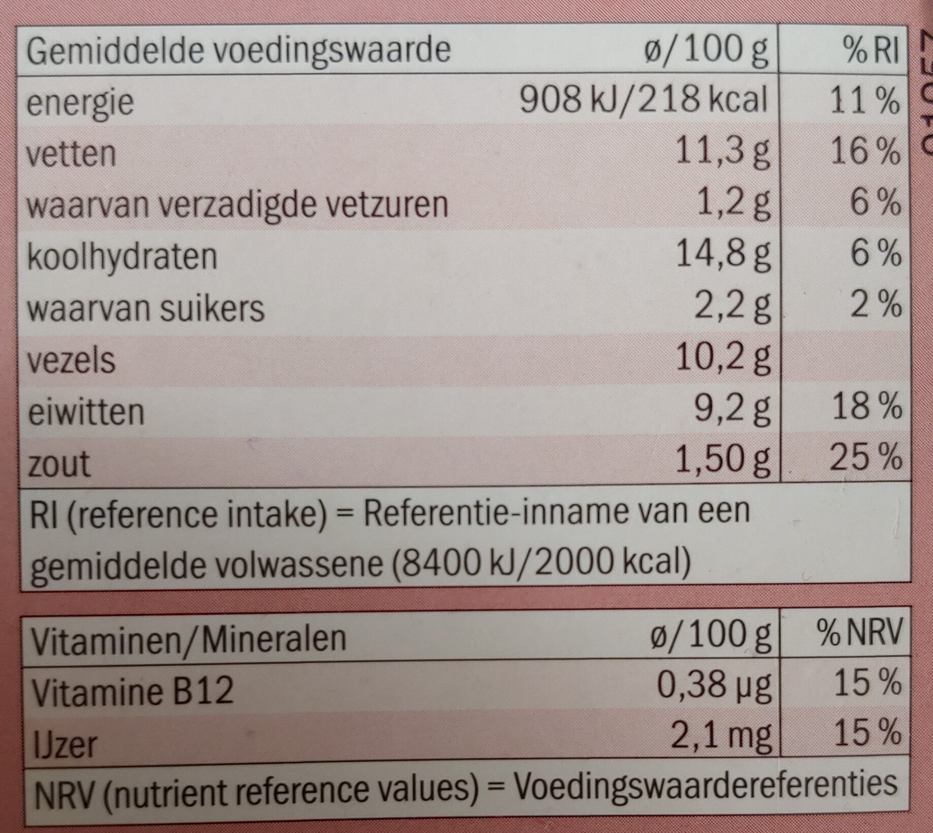 Spicy bean burger - Nutrition facts - nl