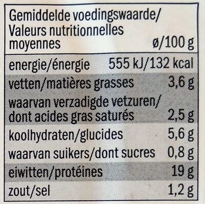 Cordon bleu de porc - Voedingswaarden - fr