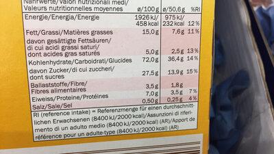 Envitas Creme & Frucht - Nährwertangaben
