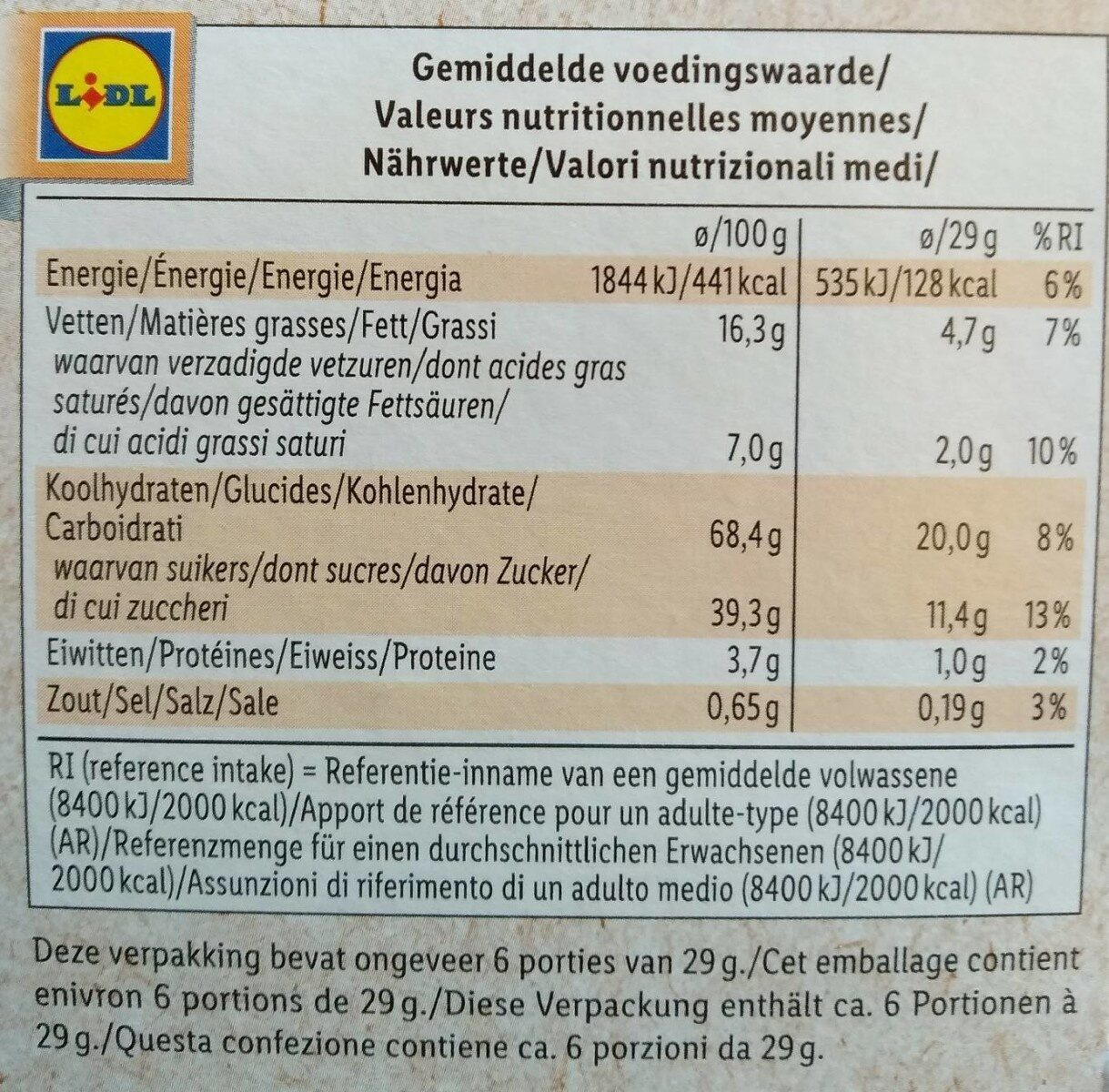 Bio Waffles - Nutrition facts - fr