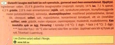 Culinea Salmon Lasagne - Ingrédients