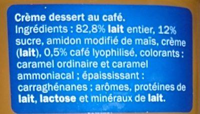 Crème Dessert Café - Ingrédients - fr