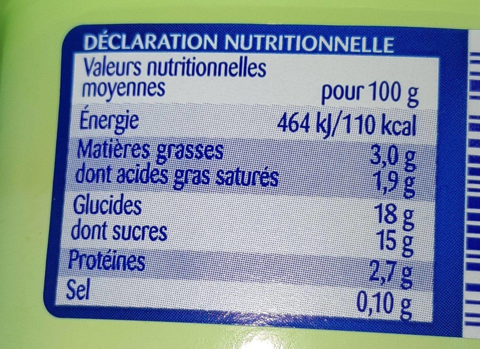 Crème Dessert Saveur Pistache - Nutrition facts