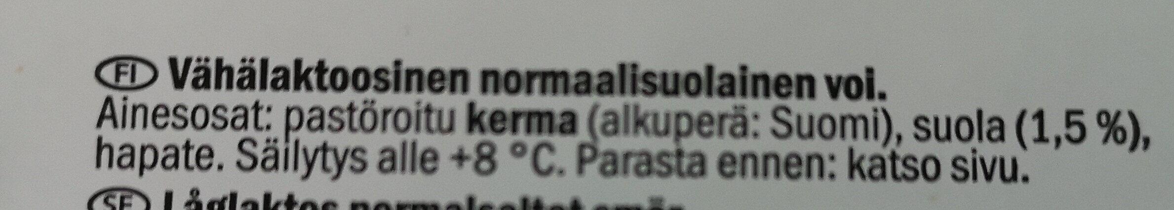 Kotimainen Voi, Normaalisuolainen - Ingredients