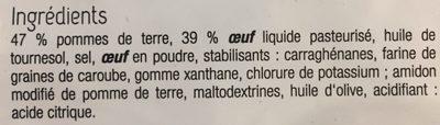 Tortilla Omellette aux pommes de terre - Inhaltsstoffe - fr