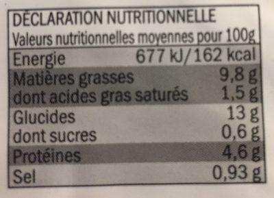 Tortilla Omellette aux pommes de terre - Nährwertangaben - fr