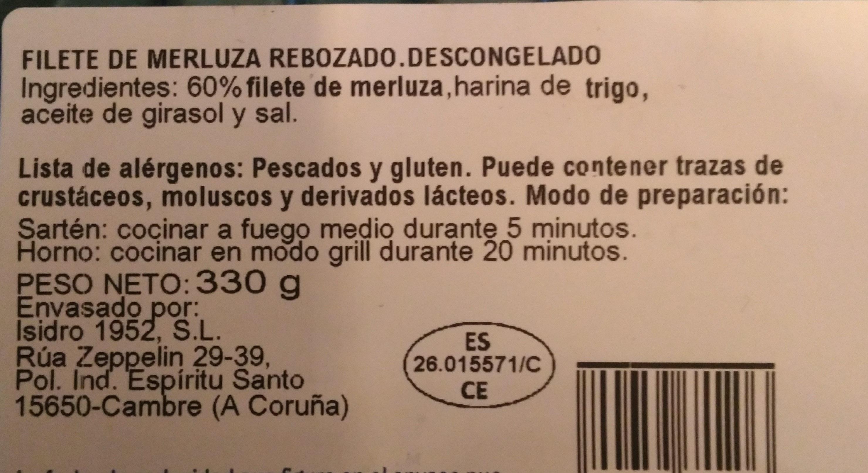 Filete de merluza rebozado - Ingrediënten