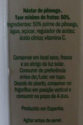Original nectar pêssego - Ingredientes