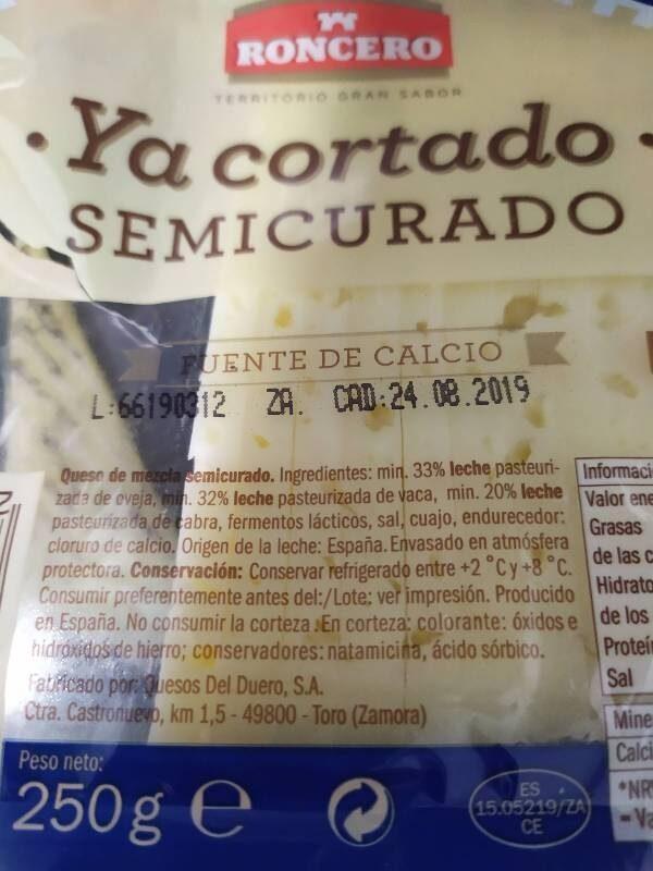 Semicurado - Ingrédients - es