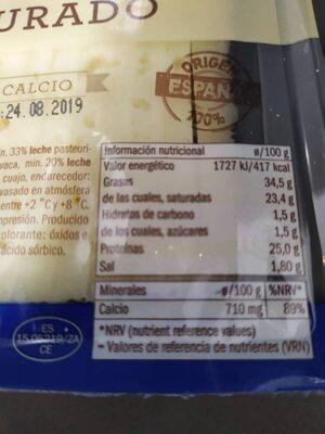 Semicurado - Informations nutritionnelles - es