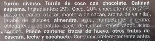 Turrón de coco con chocolate - Ingredientes - es