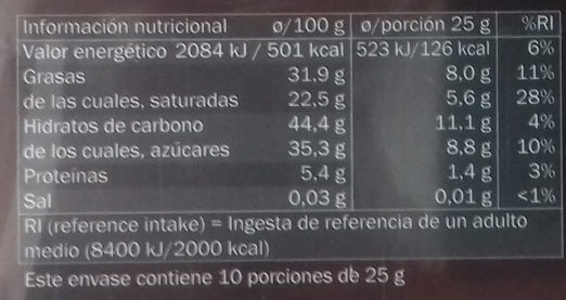 Turrón de coco con chocolate - Información nutricional - es