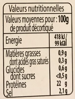 Gambas entiered - Nutrition facts