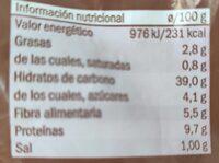 Integral sin corteza - Informations nutritionnelles - es