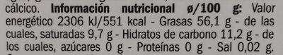 Perlas de aceite en vinagreta - Informació nutricional