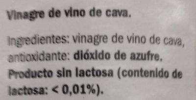Vinagre de cava - Ingredientes - es