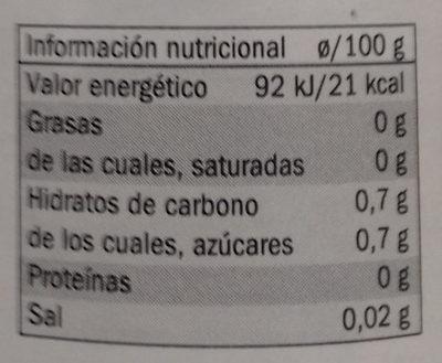 Vinagre de cava - Información nutricional - es