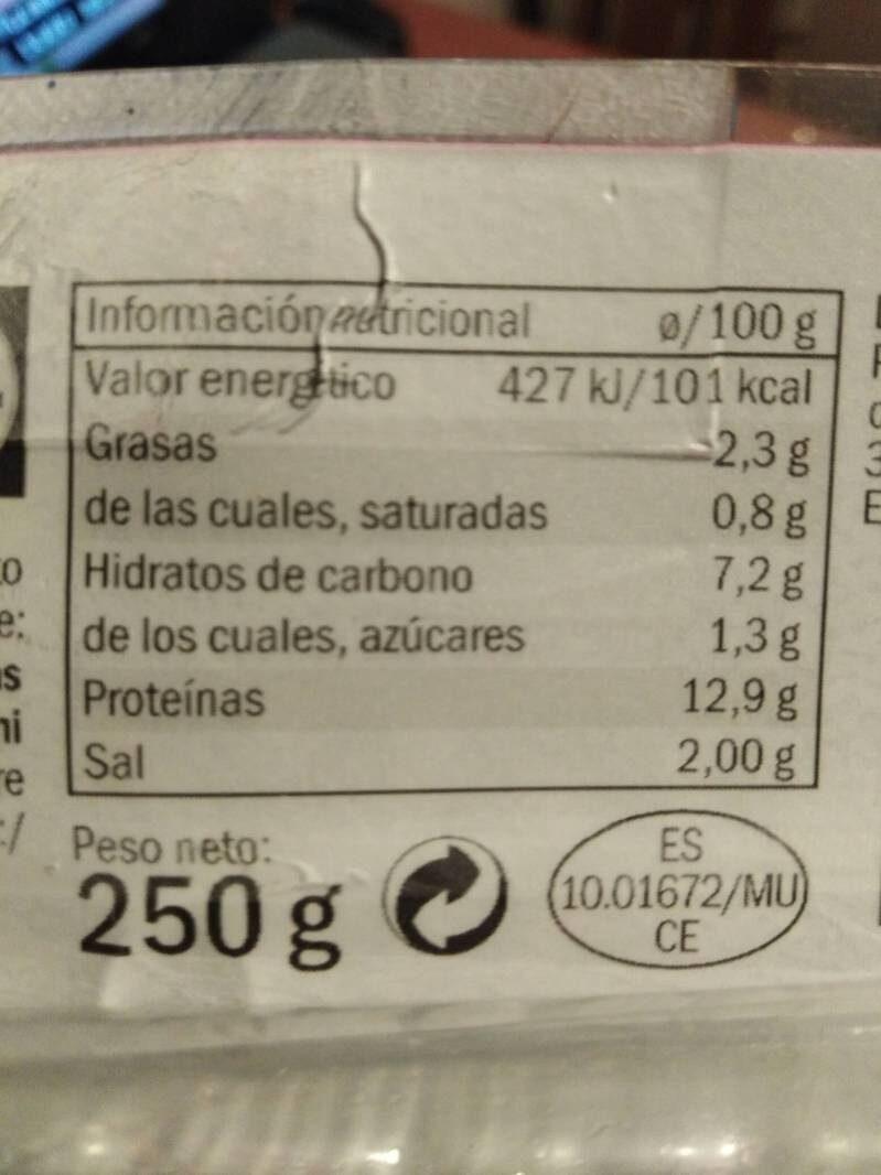 Fiambre sándwich york - Informació nutricional - en