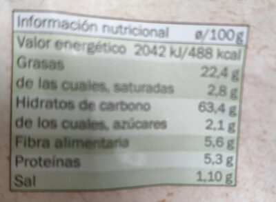 Tortitas chips maiz - Voedingswaarden - es