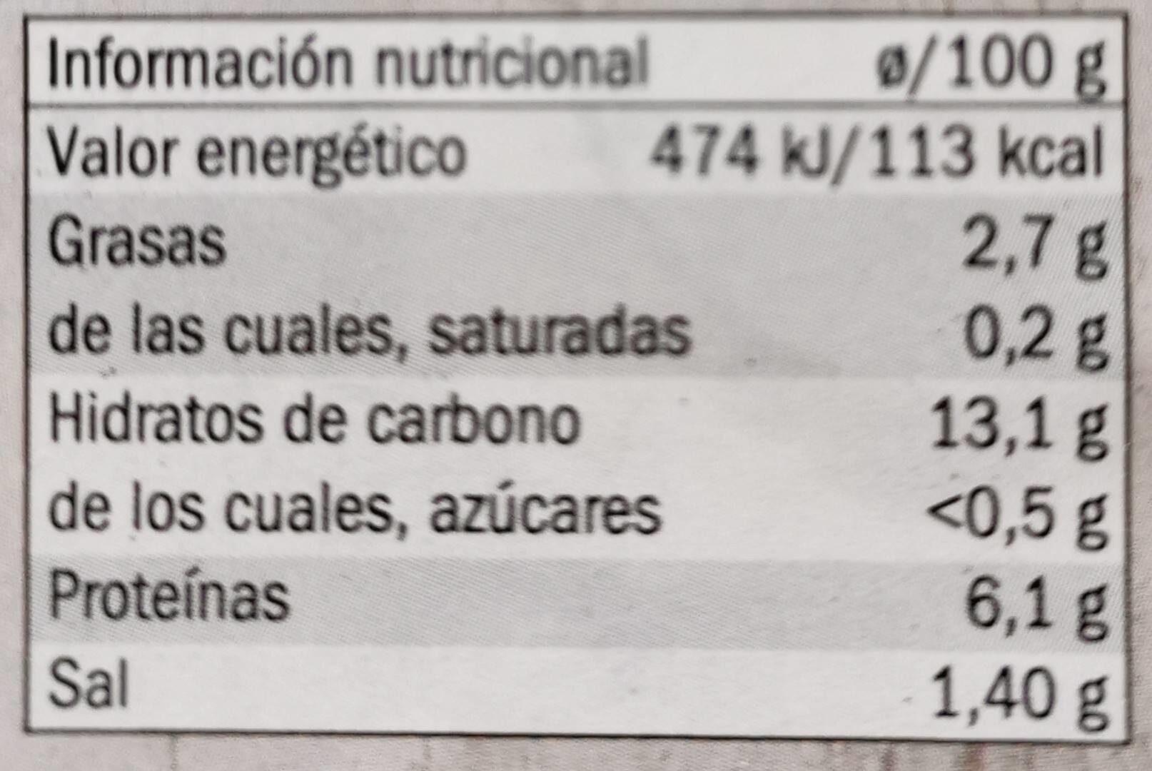 Garbanzos con trufa - Información nutricional - es