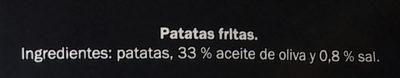 Patatas fritas Gourmet al aceite de oliva - Ingredientes