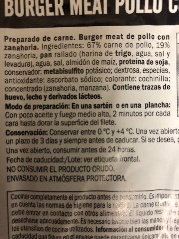 Burger meat pollo zanahoria - Ingredients