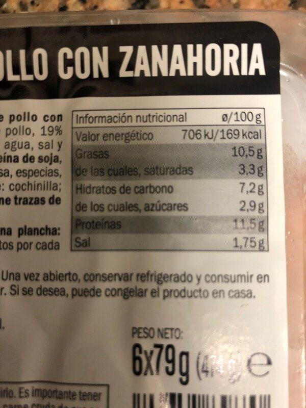 Burger meat pollo zanahoria - Informació nutricional