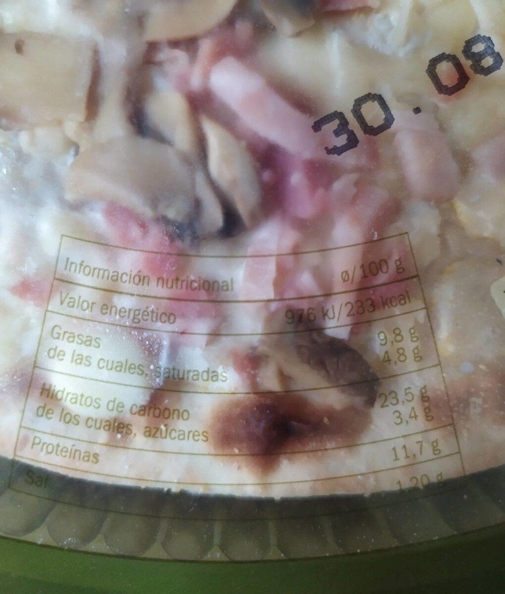 Pizza carbonara - Información nutricional - fr