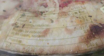 Pizza 4 quesos - Voedingswaarden - es