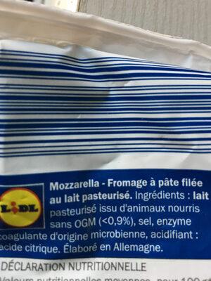 Mozzarella  käse - Ingrédients - fr