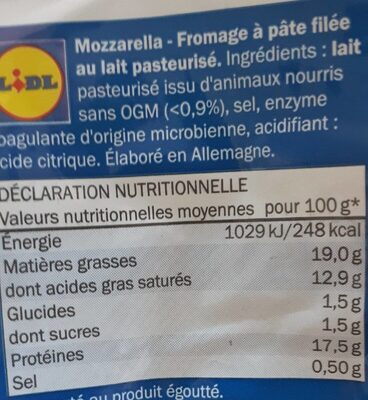 Mozzarella lovilio Lidl - Nutrition facts