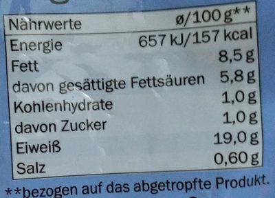 Mozzarella light - Nährwertangaben - de