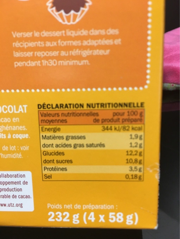 Flan entremets - Informations nutritionnelles