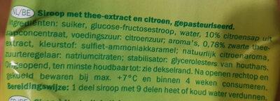 Sirop iced tea lemon - Ingrediënten - nl
