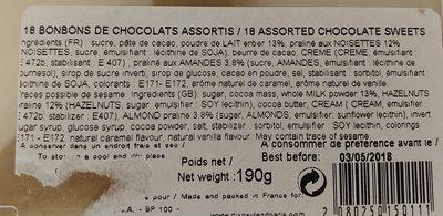 18 bonbons de chocolat assortis - Ingrediënten - fr