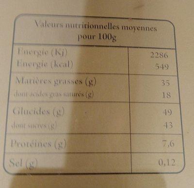18 bonbons de chocolat assortis - 营养成分 - fr