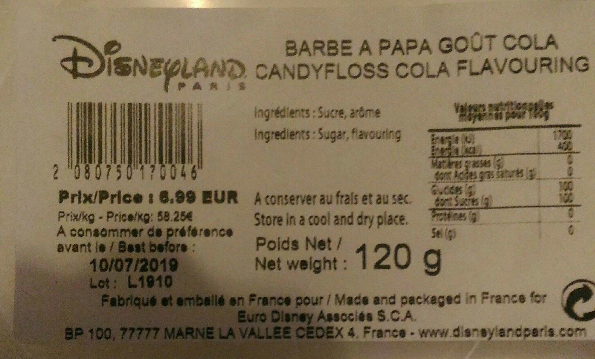 Barbe à papa goût cola Disney - Ingrédients - fr
