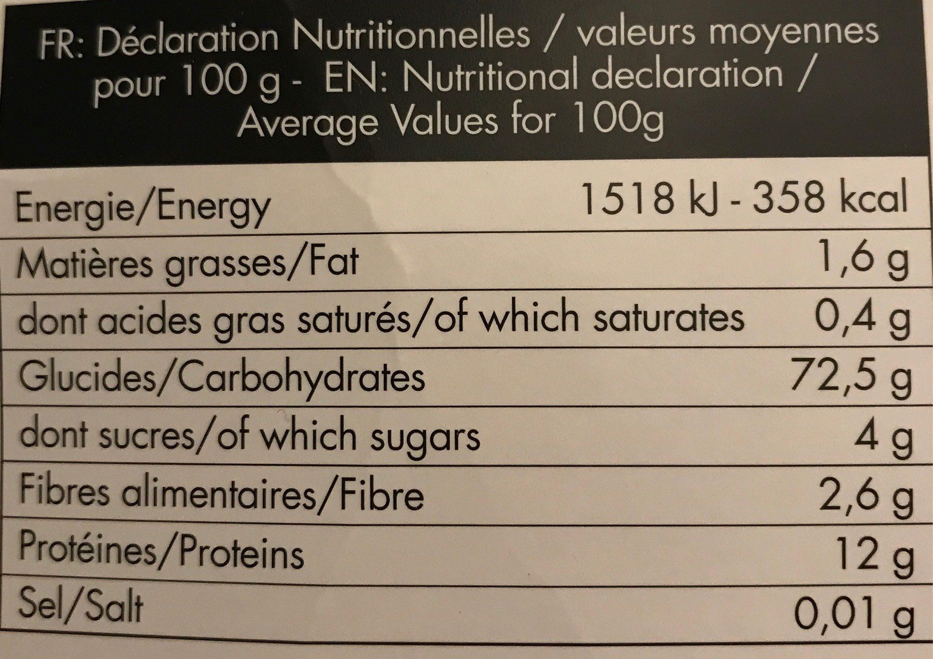 Pasta Disney - Nutrition facts - fr