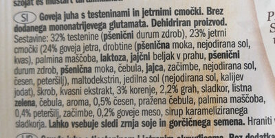 Goveja juha s testeninami - Ingredients - sl