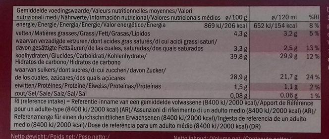 Gelatelli - Ecorino red fruit - Informations nutritionnelles - es