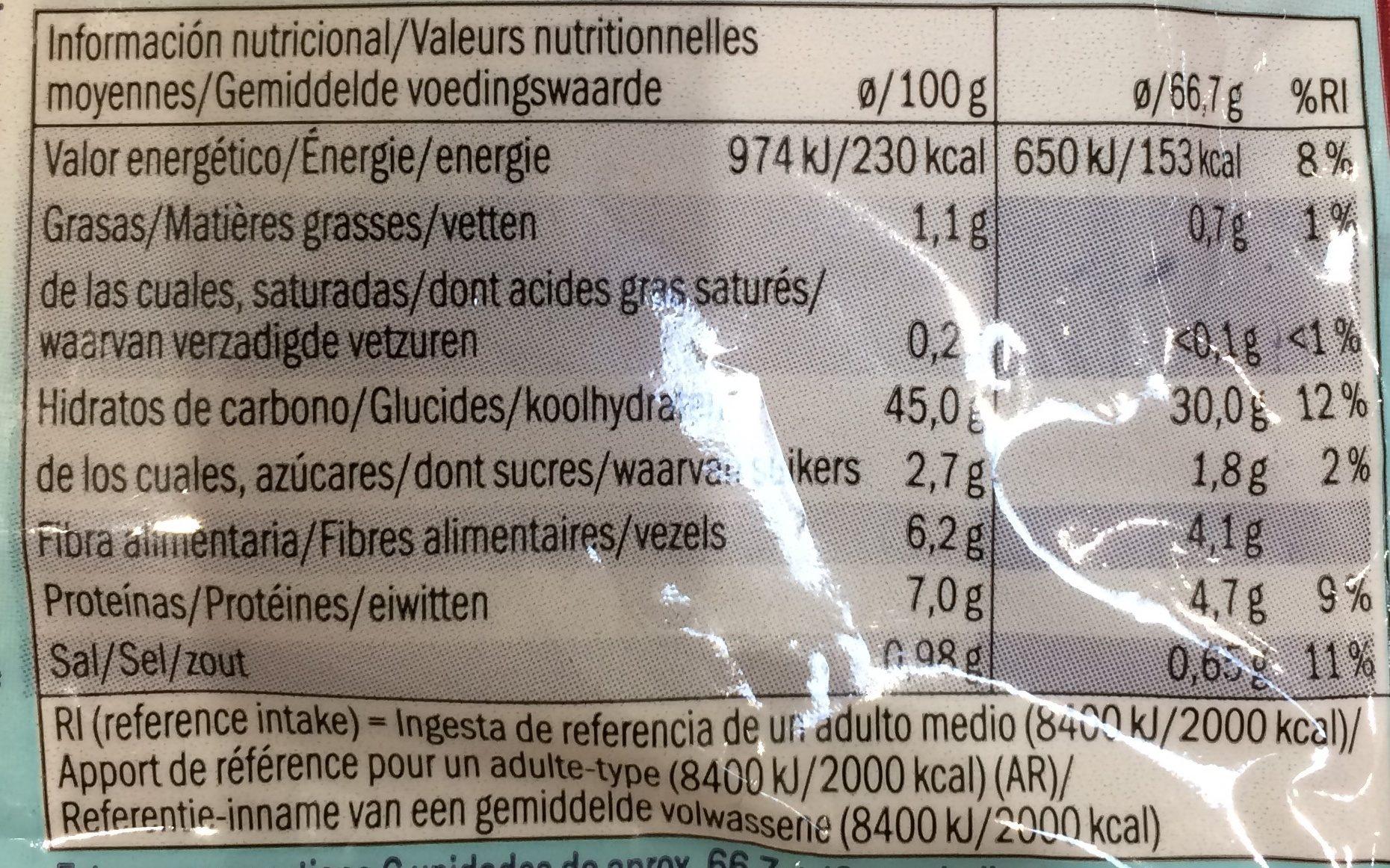 Pita bread Wholemeal - Información nutricional