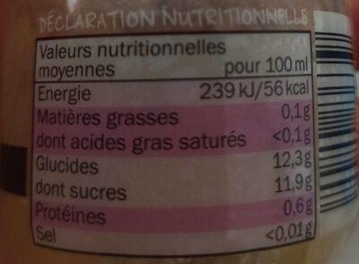 Smoothie pomme, raisin, fraise, cassis, mûre - Nutrition facts - fr