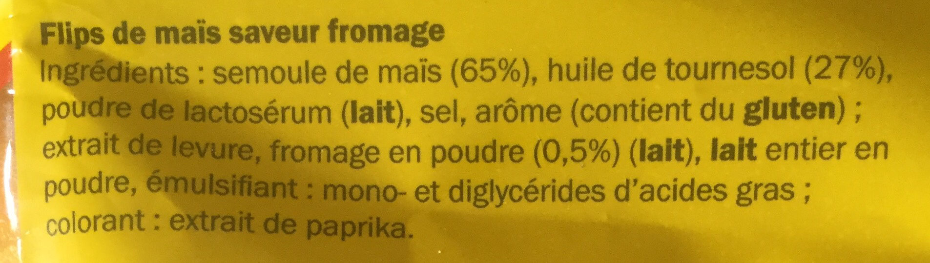 Flips fromage - Ingrédients