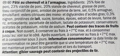 Pâté au chevreuil - Ingrediënten