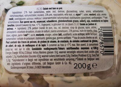 Salade jambon-poireau - Nutrition facts - fr