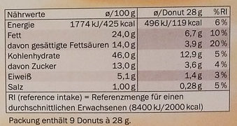 Trio mini donuts - Nährwertangaben