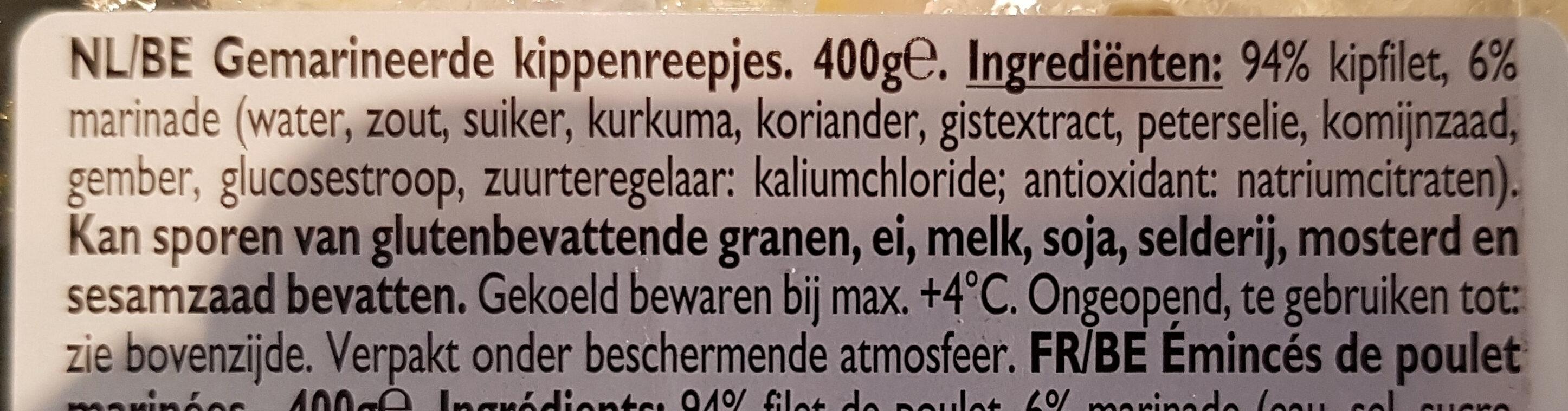 Émincé de poulet - Ingredients